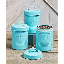 Vintage Set of 3 Blue Metal Kitchen Canisters. Made from Steel. Tea, Sugar, Coffee