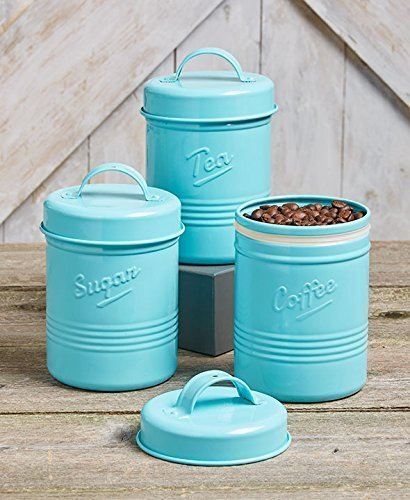 Blue Tea Canister - Vintage Set of 3 Blue Metal Kitchen Canisters. Made from Steel. Tea, Sugar, Coffee