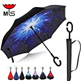 MY'S Inverted Reverse Folding Umbrella Double Layer Cars Reversible Umbrella waterproof UV proof Windproof Umbrella Self-Standing & C-Shape Mothers/ Fathers Day Promotion! (Bright stars)
