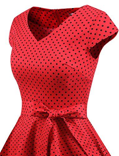 Dot Da Partito Black Swing Rockabilly Corte Audery Polka 1950 Retrò Gardenwed Red Maniche Annata Cocktail Con Small Abito Vestito xcqPfYwPUC