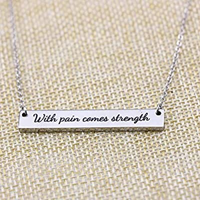 Awegift Women Gifts Pendant Thin Bar Necklace in Silver Inspirational Jewelry Grief Sympathy Get Well