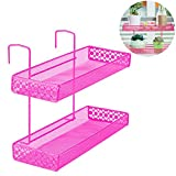 Lzttyee Iron 2-layer Multi-purpose Office Cubicle Sundries Corner Storage Shelf Rack Hanging Balcony Corner Plant Caddy (Pink)