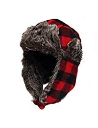 DONGKING Wool Blend Trapper Hat Red Plaid Faux Fur Outdoor Winter Hat for Women