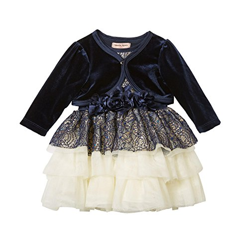 Nanette Lepore Baby and Toddler Girls Special Occasion Dress (Navy, 3T)