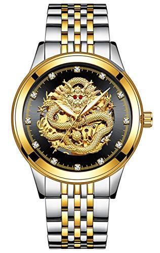 - Men Luxury Business Automatic Mechanical Waterproof Luminous Dragon Skeleton Stainless Steel Watch (Silver Gold Black)
