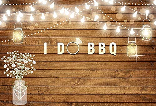 Jewderm 9x6ft I Do BBQ Photography Backdrop Wood Board Lights Background for Party Cake Table Wall Decoration Photographic Cloth Curtain Studio Props Photo Booth