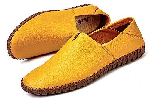 Jiye Mens Chaussures En Cuir Véritable Mocassins Glisser Sur La Marche Des Chaussures De Conduite Par Jaune