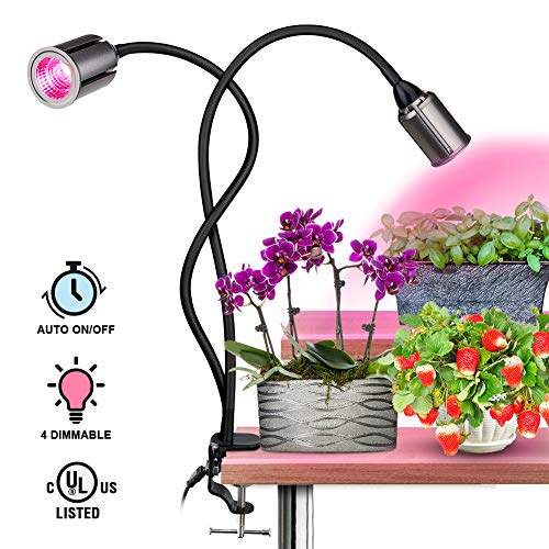 COB LED Plant Grow Lights – 75W Full Spectrum Grow Light for Indoor Plants, Indoor Plants Lights with Auto on Off, 3 6 12H Timing, 4 Dimmable Function, Plants Grow Lamp, Flexible Gooseneck, Pink