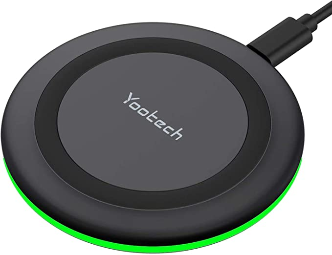 Yootech Wireless Charger, Qi-Certified 10W Max Fast Wireless Charging Pad Compatible with iPhone 12/12 Mini/12 Pro Max/SE 2020/11 Pro Max,Samsung Galaxy S21/S20/Note 10/S10,AirPods Pro(No AC Adapter) | Amazon