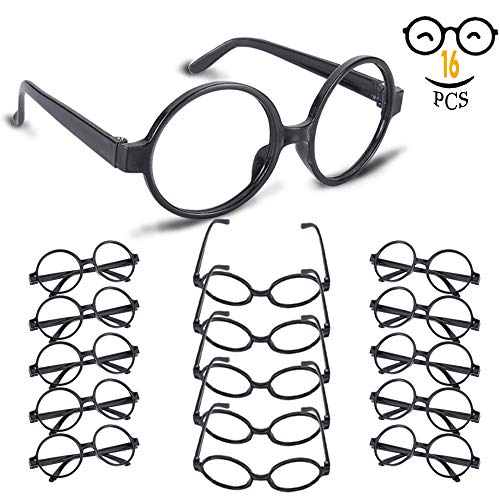 YoHold Wizard Glasses with Round Frame No Lenses for Kids Magical, Halloween, St Patrick's Day Costume Party, 16 Pack, Black -