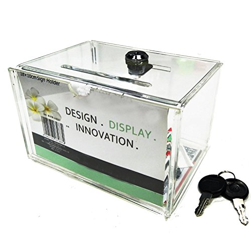 Clear Acrylic Charity Donation Fundraising Box with Lock for Church,Non-profitable Groups ()