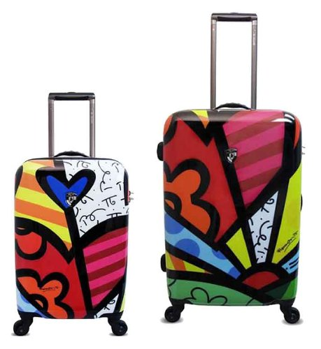 2 in 1 Romero Britto Luggages Set 26''/22'' by Heys USA Spinner Case (A New Day) - Heys Flowers Usa