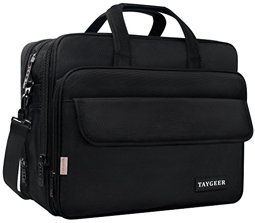 - 17 Inch Laptop Bag, Large Briefcase for Men Women, Expandable Business Attache, Taygeer Water Resitant Computer Messenger Shoulder Bags, Carry On Handle Travel Case for 17