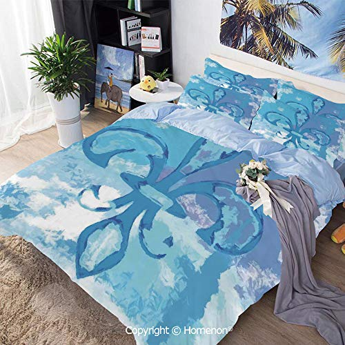 Three-Piece Bed,Illustration of Lily Flower Like Frozen Heredic Nobility Emblem Queenly Style Print,Twin Size,for Bedroom Guest -