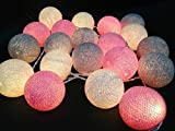 Design by UnseenThailand Handmade Cotton Ball String Lights Decoration (3metre 20 Globes/pack) Decor Wedding Bedroom Garden Spa and Holiday Lighting. (White - Gray - Pink)