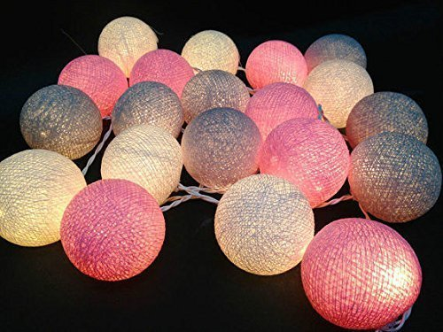 Design by UnseenThailand Handmade Cotton Ball String Lights Decoration (3metre 20 Globes/pack) Decor Wedding Bedroom Garden Spa and Holiday Lighting. (White - Gray - Pink) by UnseenThailand Warehouse (Image #1)