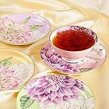 Pulchritudie Fine Bone China Teacup and Saucer Set, English Teasets, Floral Design with Golden Rim, Set of Four