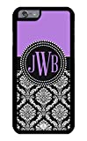 iPhone 6 Case, iPhone 6S Case, iZERCASE Custom Monogram Personalized Lavender and Black Damask Pattern (LAVENDER)