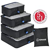 ZOMAKE Packing Cubes 4 Piece Set - Travel Accessories Organizers Versatile Travel Packing Bags Plus Free Laundry Bag - Lifetime Guarantee(Black 2)