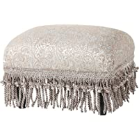 Jennifer Taylor Home Fiona Collection Traditional Style Upholstered Fringed and Tasseled Rectangular Wood Framed Footstool, Teal Tan/Paisley