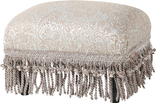 Jennifer Taylor Home Traditional Collection Wood Frame Upholstered Fringed & (Wood Frame Footstool)