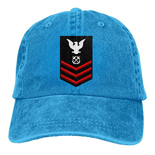 (Navy Petty Officer First Class Shoulder Patch Rate Insignia Red Adjustable Baseball Caps Denim Hats Cowboy Sport Outdoor)