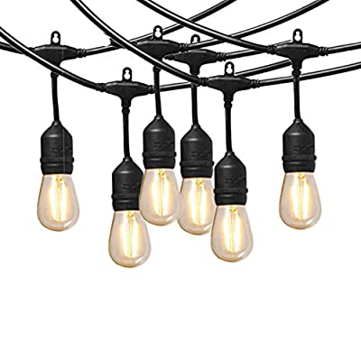 Ashialight Outdoor String Lights With Hanging Sockets, 24pcs Dimmable LED Bulb, Commercial Grade, Heavy Duty, Waterproof,50 Ft Market Cafe Edison Vintage Bistro Strand for Patio Garden Porch Backyard