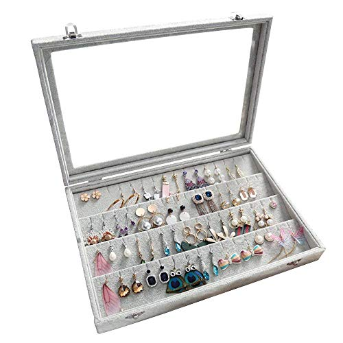 (Pasutewel Velvet Glass Earrings Pendant Display Storage Holder Jewelry Earring Storage Box Case)