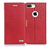 iPhone 8 Plus Case,iPhone 7 Plus Case, WWW [Crocodile Pattern] RFID-Resisting Premium PU Leather Wallet Case Flip Phone Case Cover with Card Slots for iPhone 7 Plus/8 plus Red