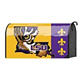LSU Louisiana State Tigers Purple and Gold Tone 22 x 18 Standard Size Mailbox Cover