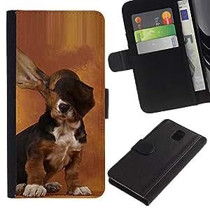 """Samsung Galaxy Note 3 III N9000 N9002 N9005 , la tarjeta de Crédito Slots PU Funda de cuero Monedero caso cubierta de piel ("""" Dog Long Ears Basset Hound Brown Puppy"""")"""