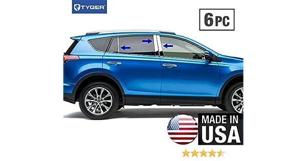TYGER For 2014-2016 Toyota RAV 4 6PC Stainless Steel Chrome Pillar Post Trim