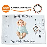 PITZKI Premium Fleece Monthly Baby Milestone Blanket | Large 60'' x 40'' | Newborn Girl Or Boy Photo Props | Perfect for New Mom Baby Shower Gift, Flowers Wreath Included