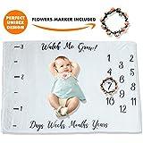 PITZKI Premium Fleece Monthly Baby Milestone Blanket...