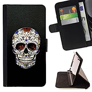 Momo Phone Case / Flip Funda de Cuero Case Cover - Cráneo Cruz Christian Death Bling motorista - Apple Iphone 6 PLUS 5.5