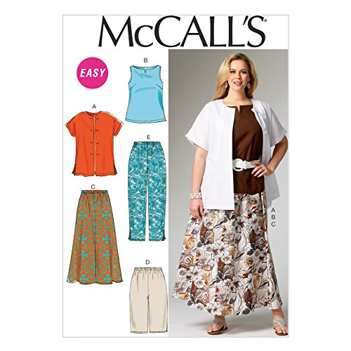 McCalls Ladies Plus Size Easy Sewing Pattern 6970 Shirt, Top, Skirt & Pants