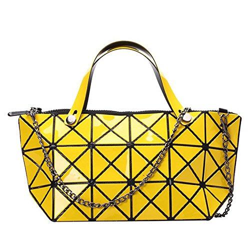 HAOXIAOZI Lingge Láser Bolso Geometría Bolsa De Deformación Hombro Bolso Diagonal Amarillo