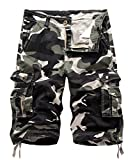 FOURSTEEDS Women's Cotton Camouflage Bermuda Cargo Shorts Multi-Pockets Loose Casual Shorts