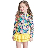 KABETY Baby Girls 3PCS Long Sleeve Swimsuit Floral Bathing Suit Rash Guards Set (Yellow, 2-3 Years)