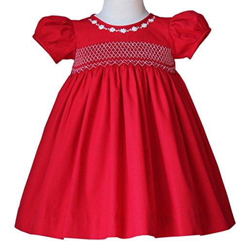 Carouselwear Sofia Baby Toddler & Girls Smocked Red Christmas (Heirloom Smocked Dresses)