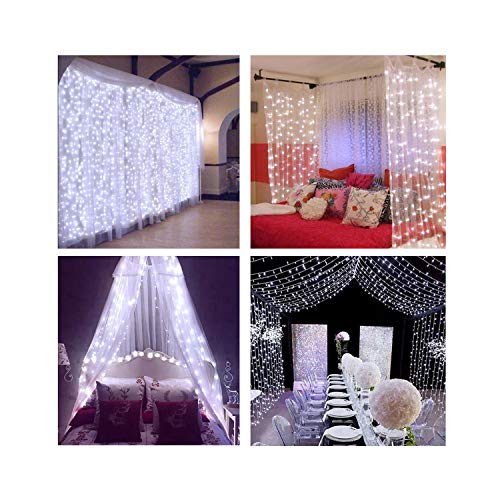 Decute Curtain Lights, 9.8 X 9.8ft 306 LED 100% UL Listed Starry Fairy Icicle Light for Wedding, Bedroom, Bed Canopy, Garden, Patio, Outdoor Indoor, White by Decute (Image #5)