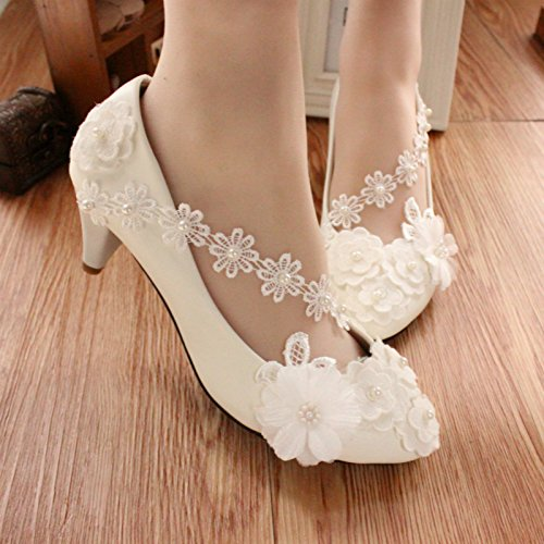 white Spring CN40 Flowers dress heel 4 Customize Si bridesmaid 5CM banquet wedding and summer bride Women's height handmade amp; shoes party decals and and accessories Hx1Sw