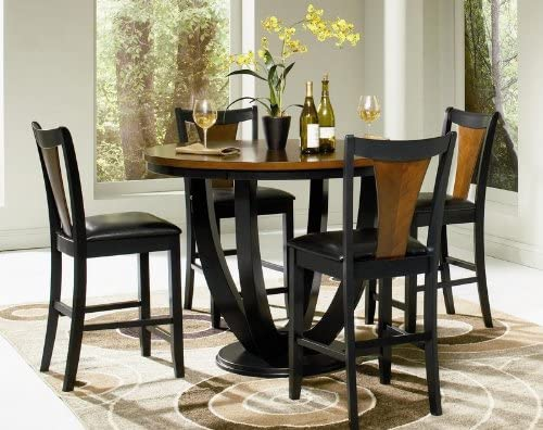 Amazon Com Coaster Fine Furniture Dining Set Black And Cherry Table Chair Sets