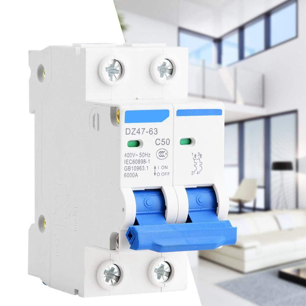 Disjoncteur miniature DZ47-63 Commutateur pneumatique protection contre les fuites AC 2P 400V 25A 40A 50A 63A 50A
