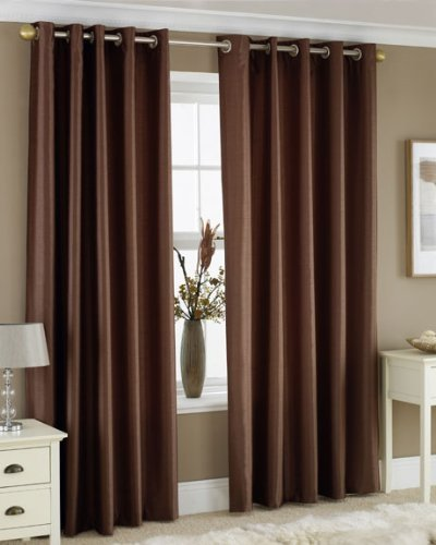 CHOCOLATE BROWN FAUX SILK LINED CURTAINS WITH EYELET RING TOP 90 x ...