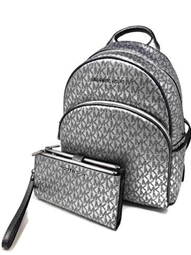 MICHAEL Michael Kors Abbey MD Backpack bundled with Michael Kors Jet Set Travel Double Zip Wristlet Wallet Metallic Silver