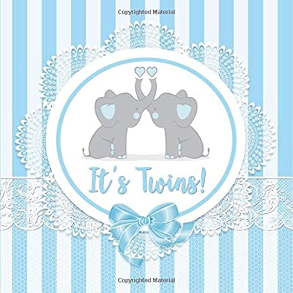 It S Twins Blue Elephant Baby Shower Guest Book Twin Boys It S Twins Baby Shower Guest Book Boy Twins Elephant Baby Shower Sign In Book Twin Message For Baby Name