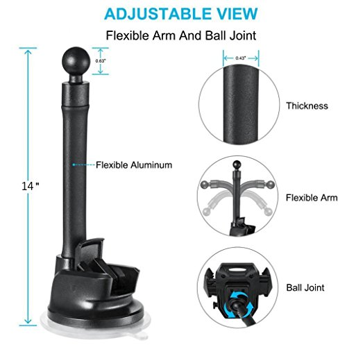 d660628cf10951 Premium Magnetic Car Mount Dash and Windshield Holder Long Gooseneck Window  Glass Rotating Dock [Extra