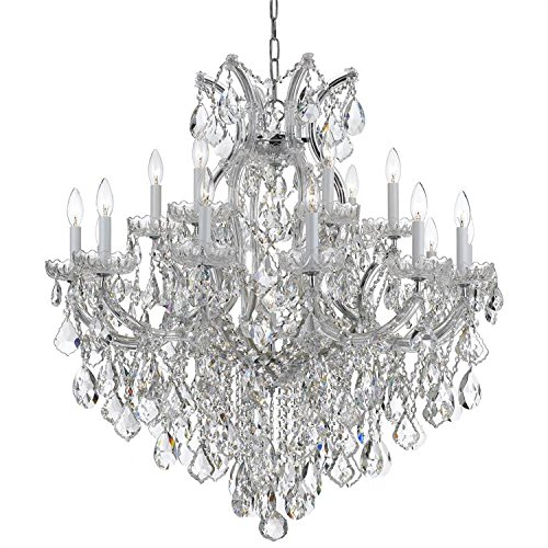(Crystorama Lighting 4418-CH-CL-MWP Maria Theresa Crystal Candle 18 Light Chandeliers In Polished Chrome With Glass)