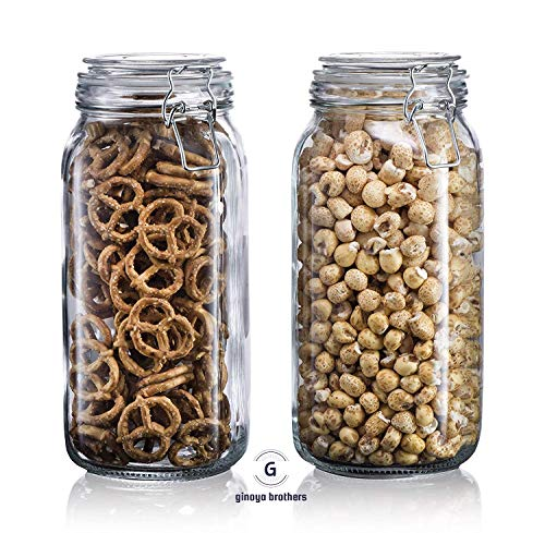 Ginoya Brothers Storage Tank Square Glass Jars with Clamp Airtight Lid 1500 ML – Set of 2 Price & Reviews